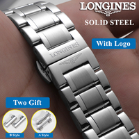Luxury Fine Polished original Solid Stainless Steel Watchband for L2 L4 watch Strap 19mm 20mm 21mm Longin Band Bracelet Strap
