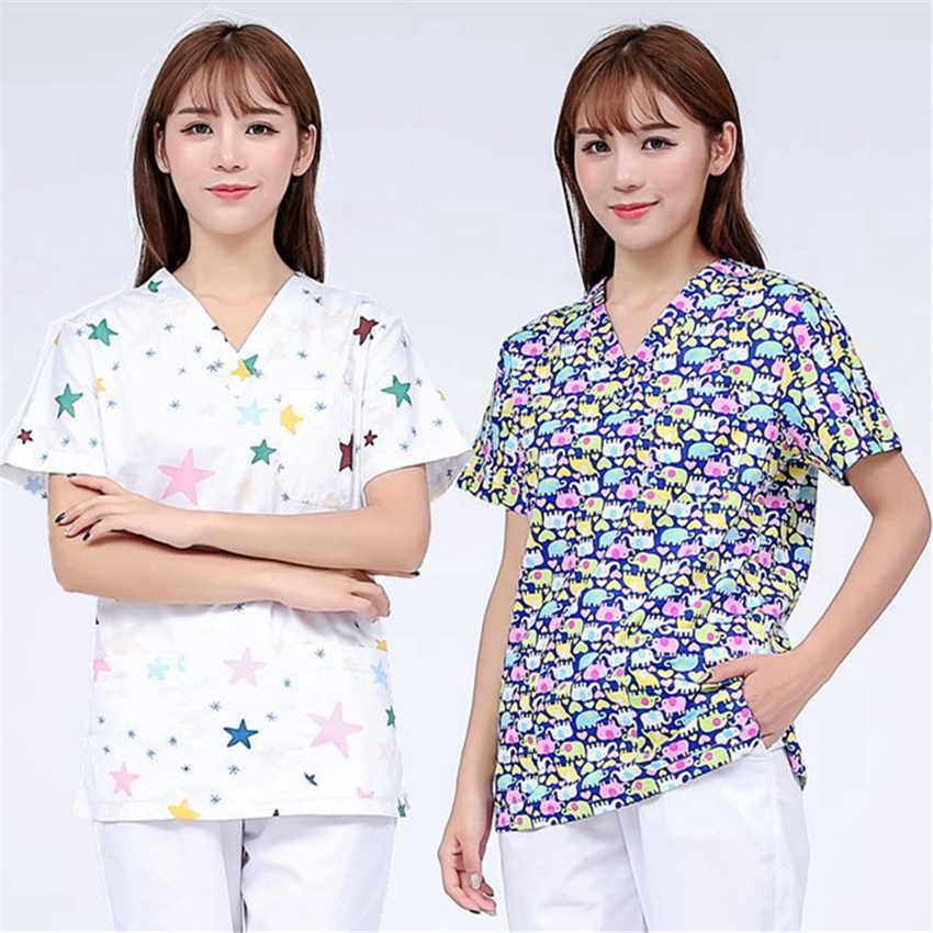 Medical Uniforms For Women Nurse Scrubs Tops Print 100%Cotton Short Sleeve Pharmacist Nursing Home Work Wear Surgical Clothes