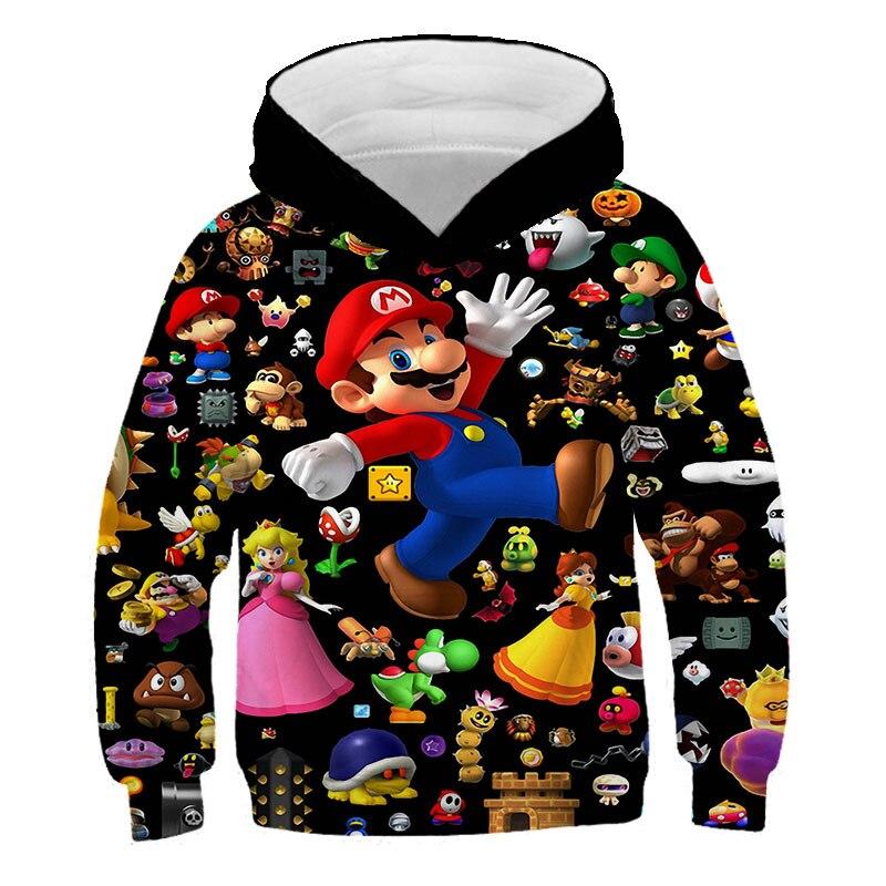 Crianças super mario bros 3d hoodie moda