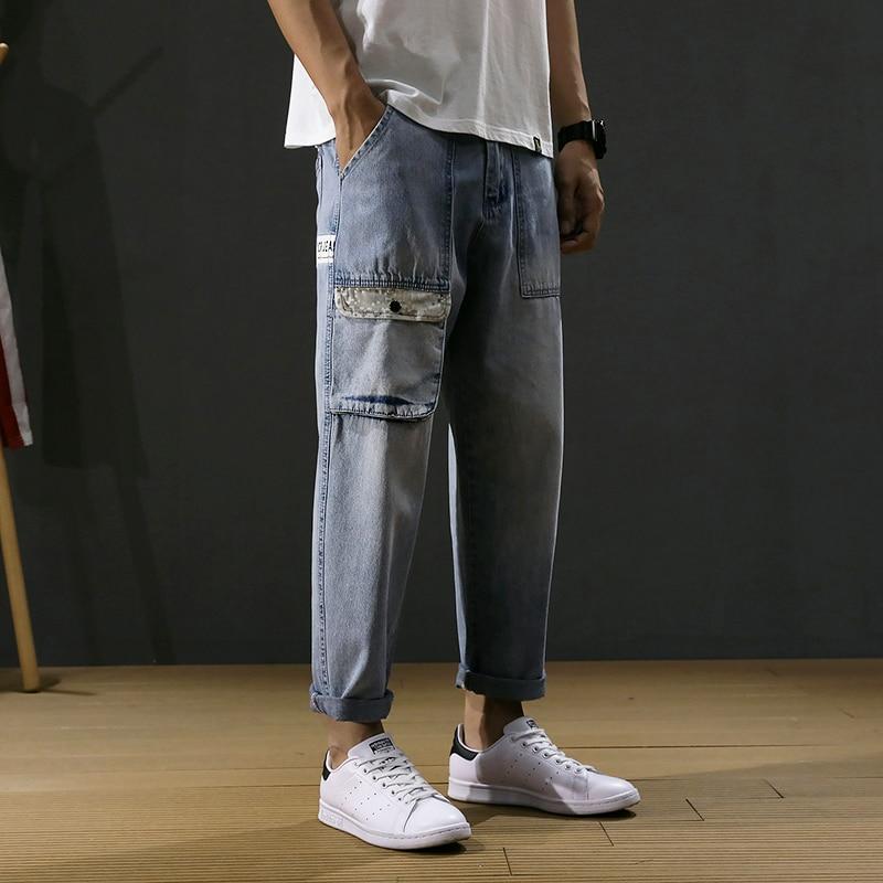 Summer Fashion Streetwear Men Jeans Loose Fit Retro Light Blue Harem Pants Big Pocket Designer Korean Style Hip Hop Jeans Men