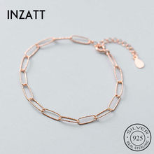INZATT Real 925 Sterling Silver Geometric Oval Chain Bracelet For Fashion Women Party Fine Jewelry Minimalist Accessories Gift(China)