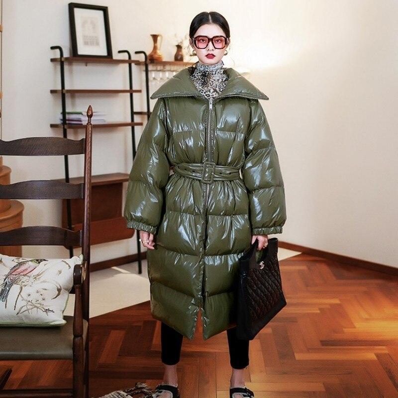 Winter Ladies Jacket Long Shiny Leather Down Jacket Padded Coats Hooded Parka