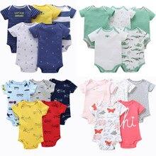 5 pçs/lote bebê macacão de manga curta algodão menino menina roupas verão macacões conjunto corpo ternos 6-24 meses bebe traje