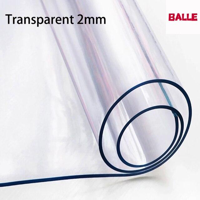 Grosso 2mm transparente pvc toalha de mesa à prova doil água capa de vidro macio à prova de óleo proteger cozinha mesa de jantar de alta qualidade