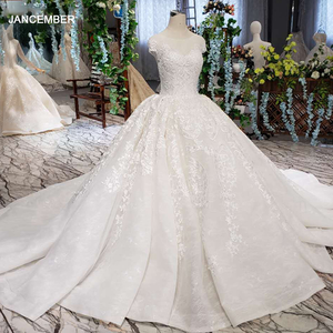 Image 1 - LSS513 Vintage Wedding Dress 2020 Appliques With Wedding Veil O Neck Lace Up V Back White Bridal Ball Gown