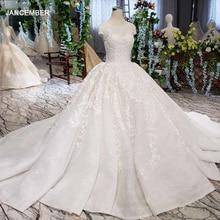 Lss513 vestido de casamento do vintage 2020 apliques com véu de casamento o pescoço rendas acima v back branco vestido de baile de noiva
