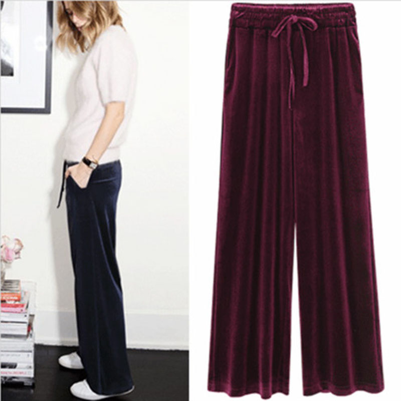 2018 New Autumn Winter Pants Women Plus Size 4xl  Velvet Pants Vintage Trousers Women Harem High Waist Loose Wide Leg Pant