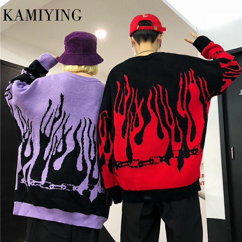 Couple Sweater Harajuku Hip Hop Flame Fire Sweaters Knit Batwing Sleeve Autumn Winter Outfits Loose Pullover Fashion Tops Unisex