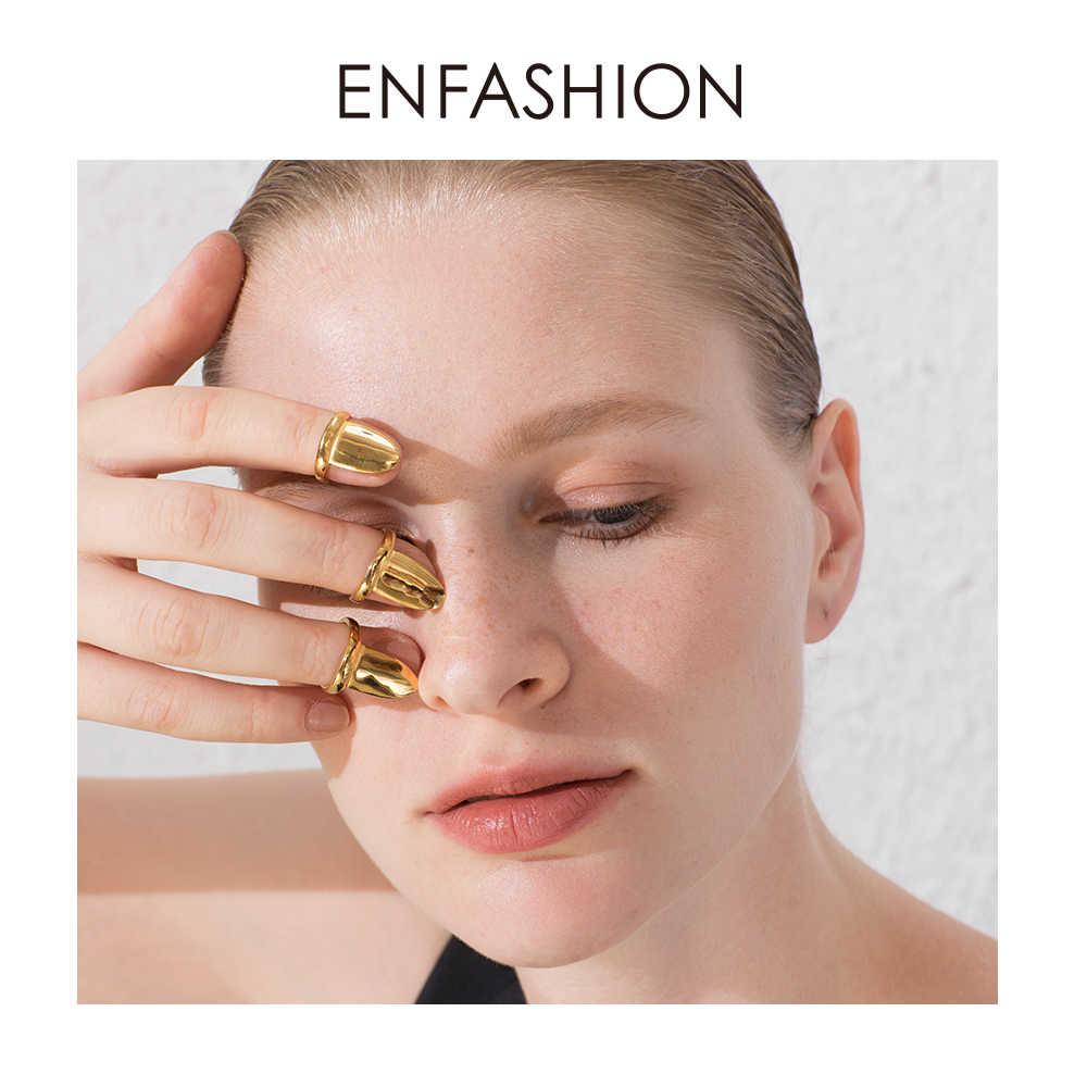 Enfashion パンクブランク爪リングステンレス鋼シンプルな指リング女性のアクセサリーのためのミニマリストのファッションジュエリーギフト R194021