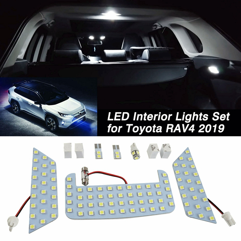 Hot Car White LED Interior Upgrade Light Lamp Bulb Kit Fit For Toyota RAV4 2019 2020 (support  Dropshipping)