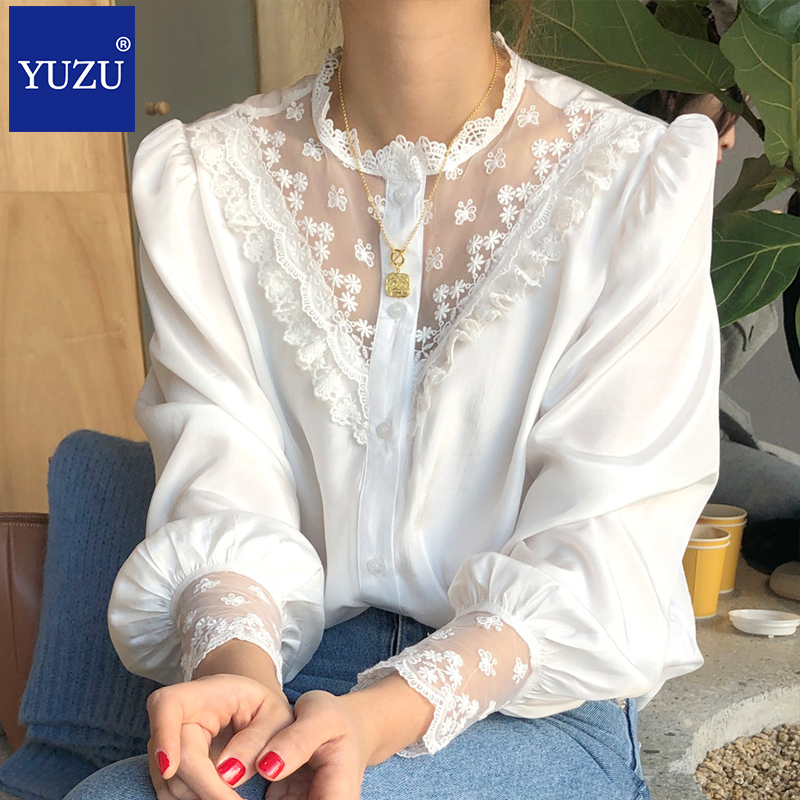 Women white shirts puff sleeve O Neck embroidery lace Butterfly Floral Hollow out long sleeve Blouses