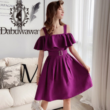 Dabuwawa Sexy Purple Top Skirt Set Women Ruffle Off Shoulder