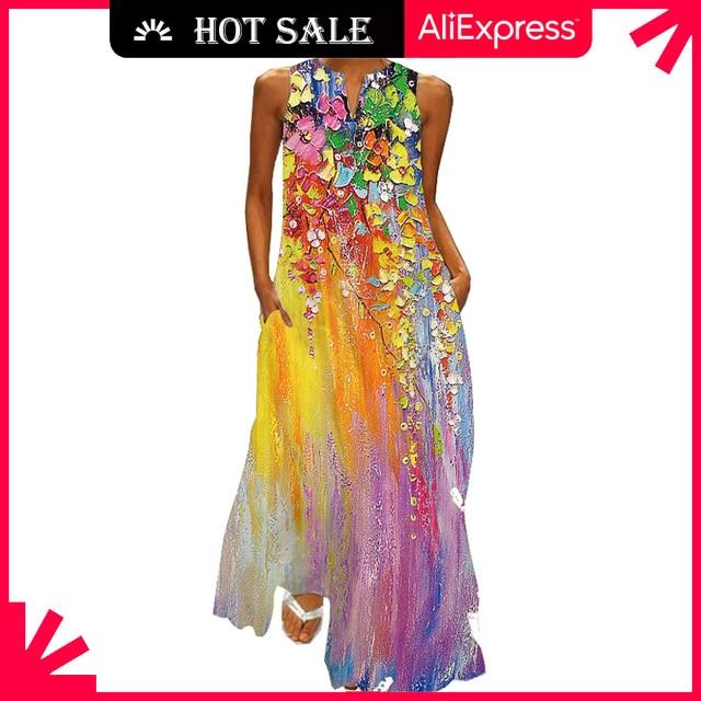 MOVOKAKA Summer Long Dress 2021 Elegant Robe Dress Party Sleeveless Dresses Women Casual Sundress Vintage Maxi Dresses For Women 1