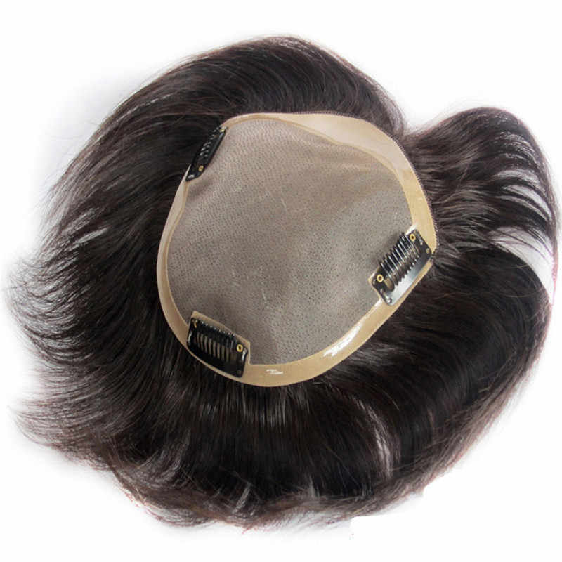 BYMC brezilyalı insan saçı peruk erkekler Lace NPU insan saçı peruk değiştirme sistemi ile doğal düz klipler
