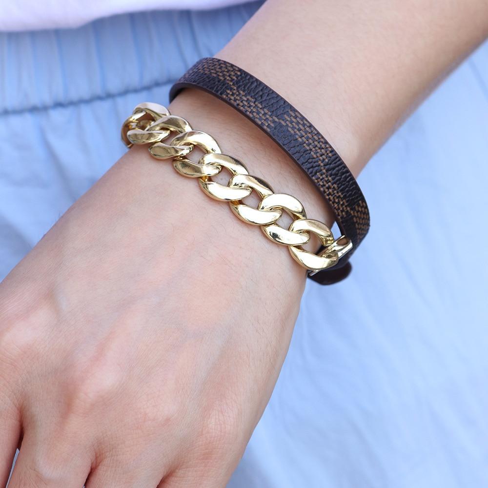 Kirykle breloque chaîne en or bracelet pour femmes mode Plaid bracelet en cuir Six couleurs réglable multi-couche bracelet fille cadeau 6