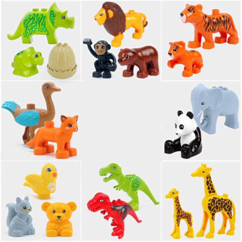 Kids Gifts Building Blocks Accessories Toys Animals Zoo Compatible Duplos Tiger Panda Goat Animal Block Bricks Sets For Children