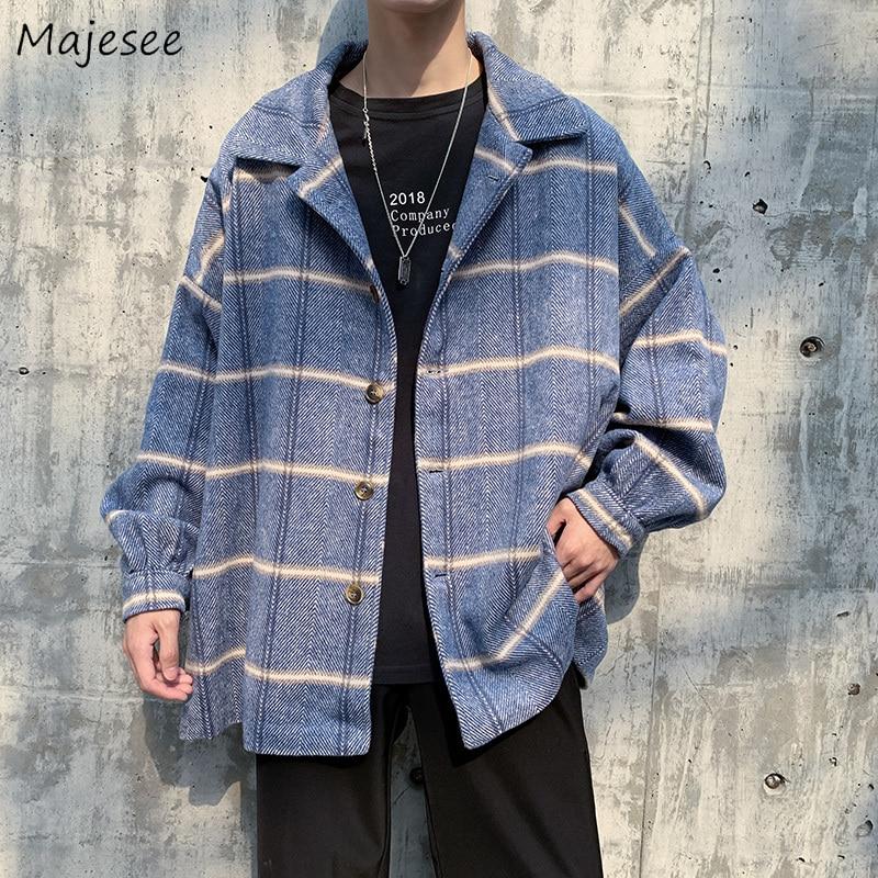 Men Coat Winter Warm Plaid Big Size Windproof High Quality Mens Coats and Jackets Korean Overcoat Streetwear Stylish Clothes