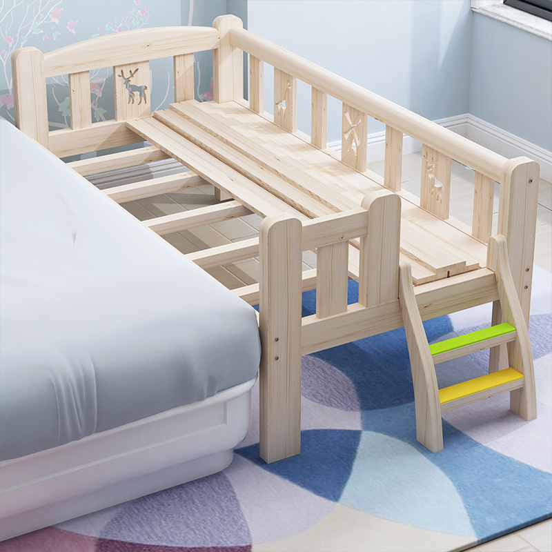 Solid Wood Children's Bed Boy Single Bed Girl, Princess Bed, Bed, Small Bed, Guardrail, Baby, Full Solid Wood.