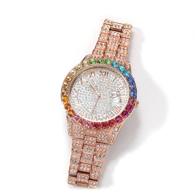 Reloj de cuarzo de acero inoxidable para hombre, cadena de eslabones de tenis, conjunto de 3 uds., joyería de Hip Hop 4