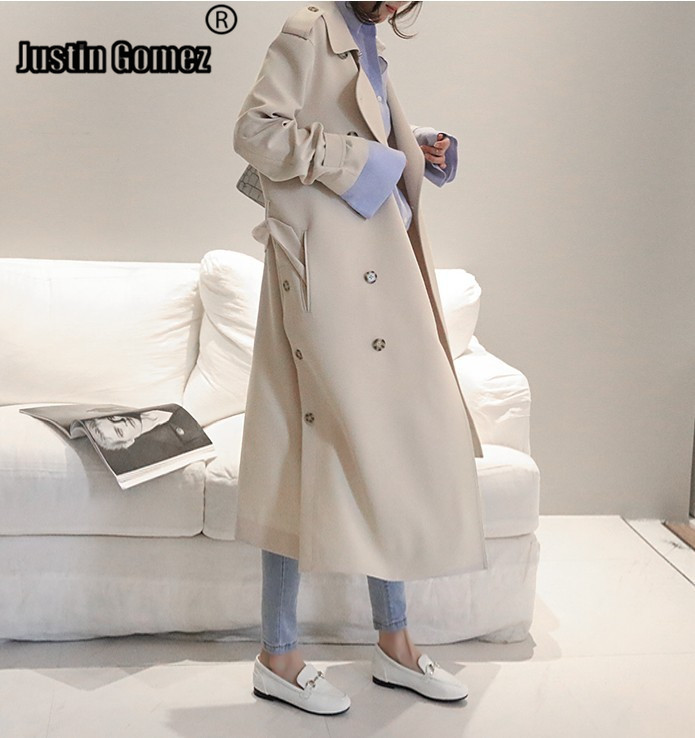 2009 New Korean Style Women's Spring and Autumn   trench   Coats elegant Clothes Fashion Double-breasted Windbreaker