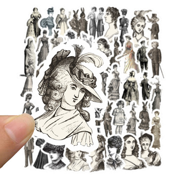 50Pcs/Pack Vintage European Ladies/Tickets Old Peper Stickers DIY Scrapbooking Label Diary Sticker Retro Character Stickers image
