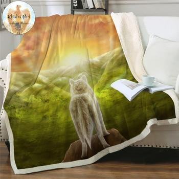 Possibilities by KhaliaArt Sherpa Blanket Sunrise Glow Scenery Plush Blanket Wolf Mountain Soft Fluffy Blanket Forest Cobertor