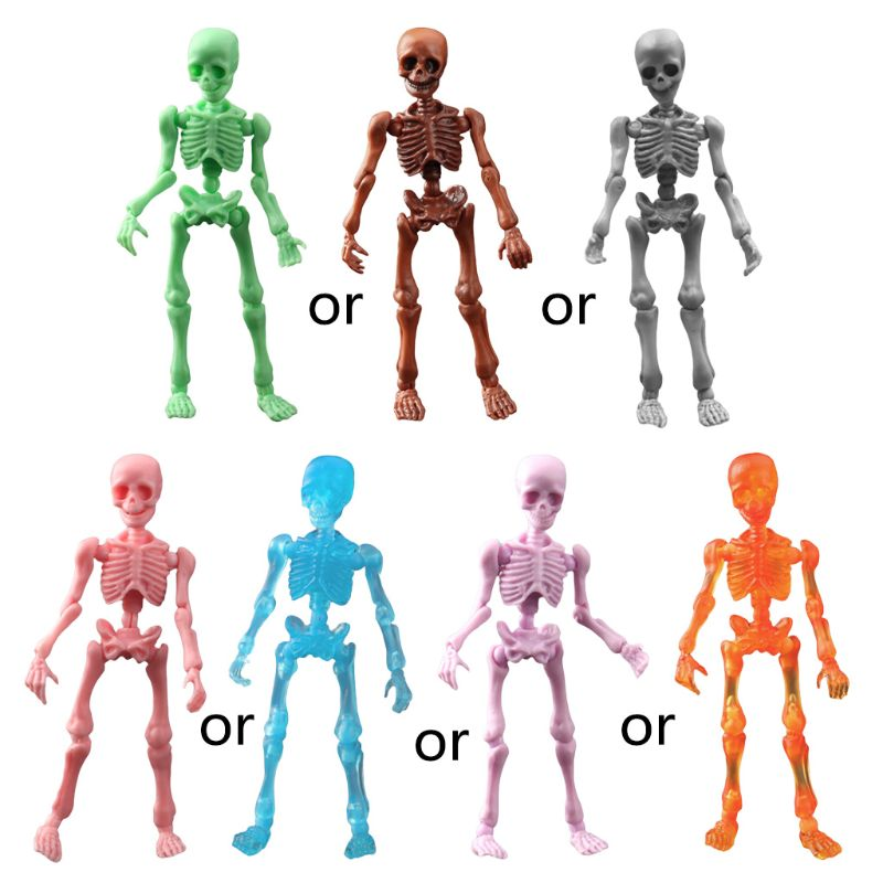 Cute Fashion Mr. Bones <font><b>Pose</b></font> <font><b>Skeleton</b></font> Simulated Skull Model Mini Figure Kids Children Toys Collectible Gifts image