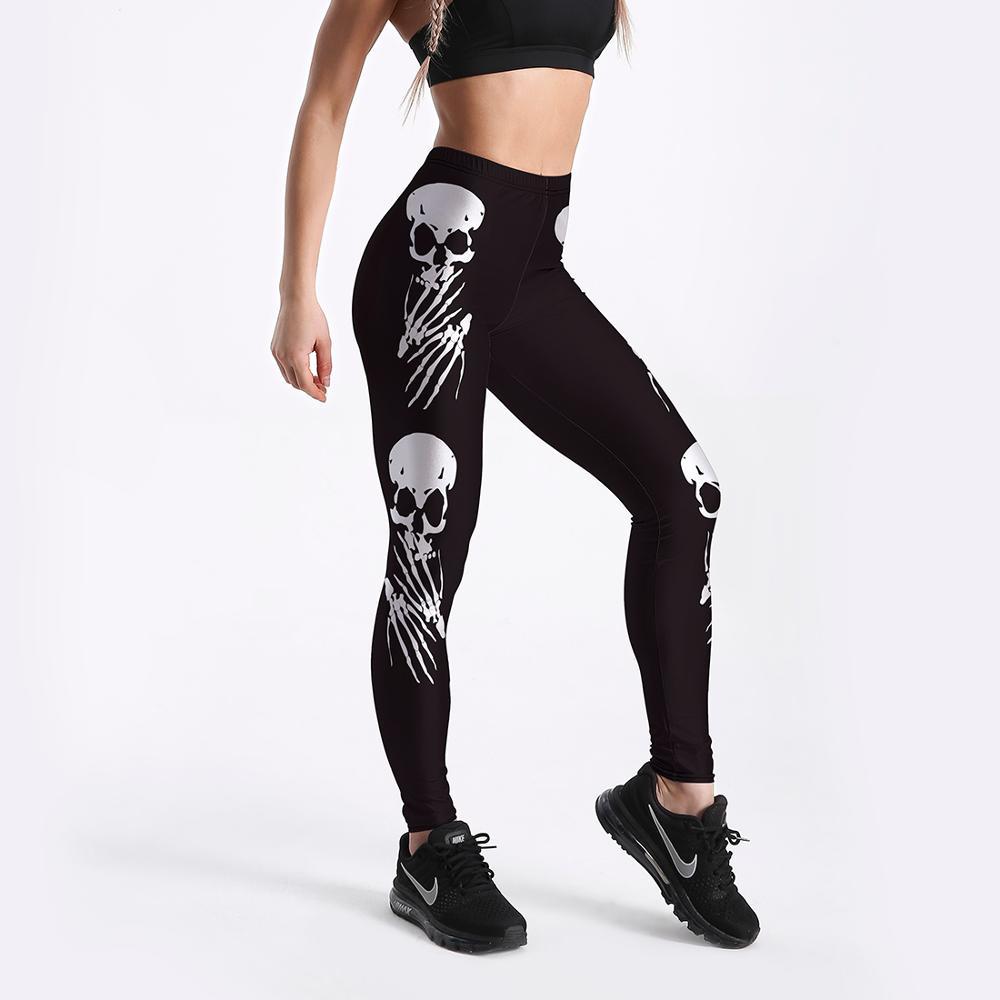 Summer Workout Black Skull Leggings Fashion Women Sports Leggings Sexy Overalls Compression Push Up Leggings Gothic Pants