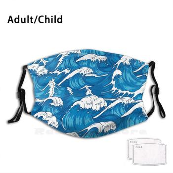 Blue Ocean Waves Drawing Print Washable Filter Anti Dust Mouth Mask Blue Ocean Blue Ocean Waves Color Colorful Wave Wavey Waves image
