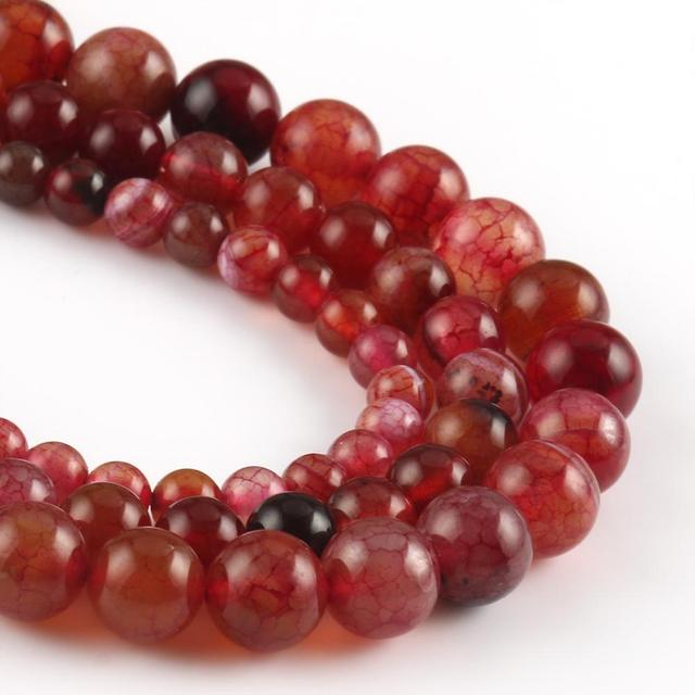 6 8 10mm Natural Red Dragon Veins Agates Round Beads for Jewlery Making DIY Bracelet Necklace Accessories Needlework Beads 15''