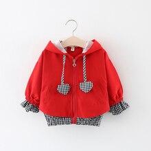 Детская одежда куртки для девочек Детская ветровка на молнии с капюшоном детское клетчатое пальто в форме сердца верхняя одежда для малышей толстовки для девочек