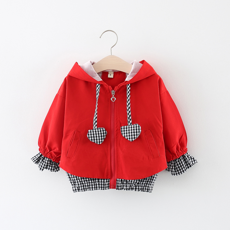 Kids Clothes Girl Jackets Children Hooded Zipper Windbreaker Baby Heart Shape Plaid Coat Infant Outerwear Hoodies For Girl