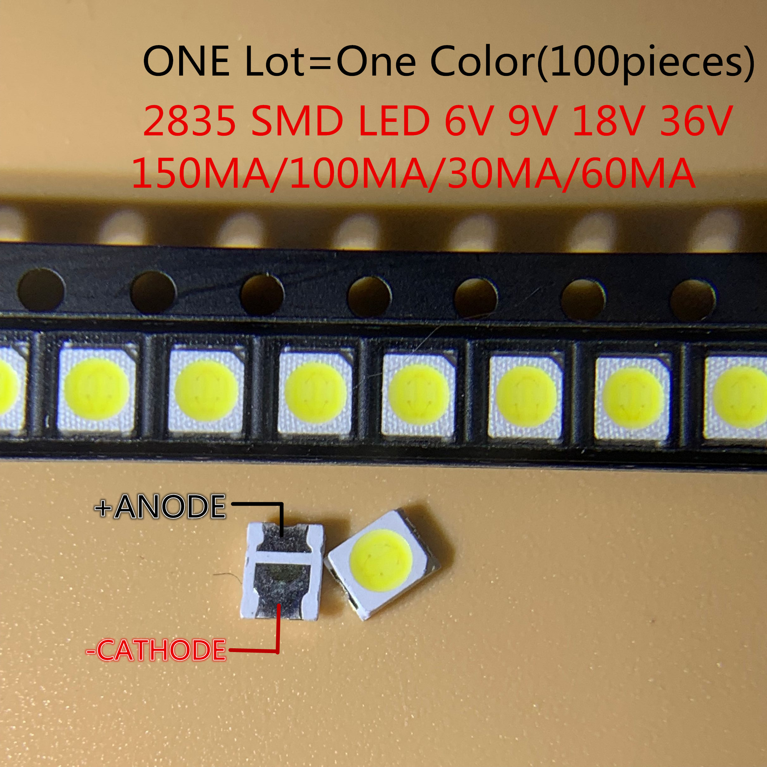 High Brightness <font><b>SMD</b></font> <font><b>LED</b></font> <font><b>2835</b></font> 1W White 100PCS/Lot 3v 6V 9V 18V 36V 150MA/100MA/30MA/60MA/350ma image