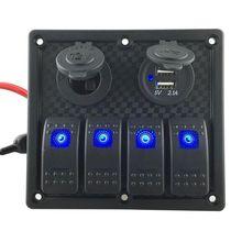 Автоматический загрузочный кулисный переключатель панели 4 банда Schakelaars светодиодный двойной автоматический USB Lader Kleurrijke 12 В вольтметр Для Авто загрузочный переключатель панели