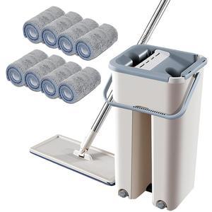 Exprimidor plano, trapeador automático mágico y cubo, para evitar lavarse las manos, paño de limpieza de microfibra, para cocina, piso de madera, mopa