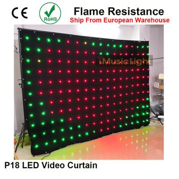 LED tło P18 2M x 3M kontroler dmx 80 animowane wzory 187 sztuk LED Vision kurtyna elastyczny ekran kurtyna wideo LED ekran tanie i dobre opinie BRIDAY Stage lighting effect Dmx etap światła 40 w MDJ-L023 90-240 V Profesjonalne stage dj SMD 5050 RGB 2M*3M 18cm