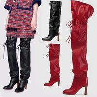 Autumn Luxury Over The Knee Boots Women Square Heel Thigh High Boots Women Round Toe Strappy Fashion 2019 Winter Women Shoes