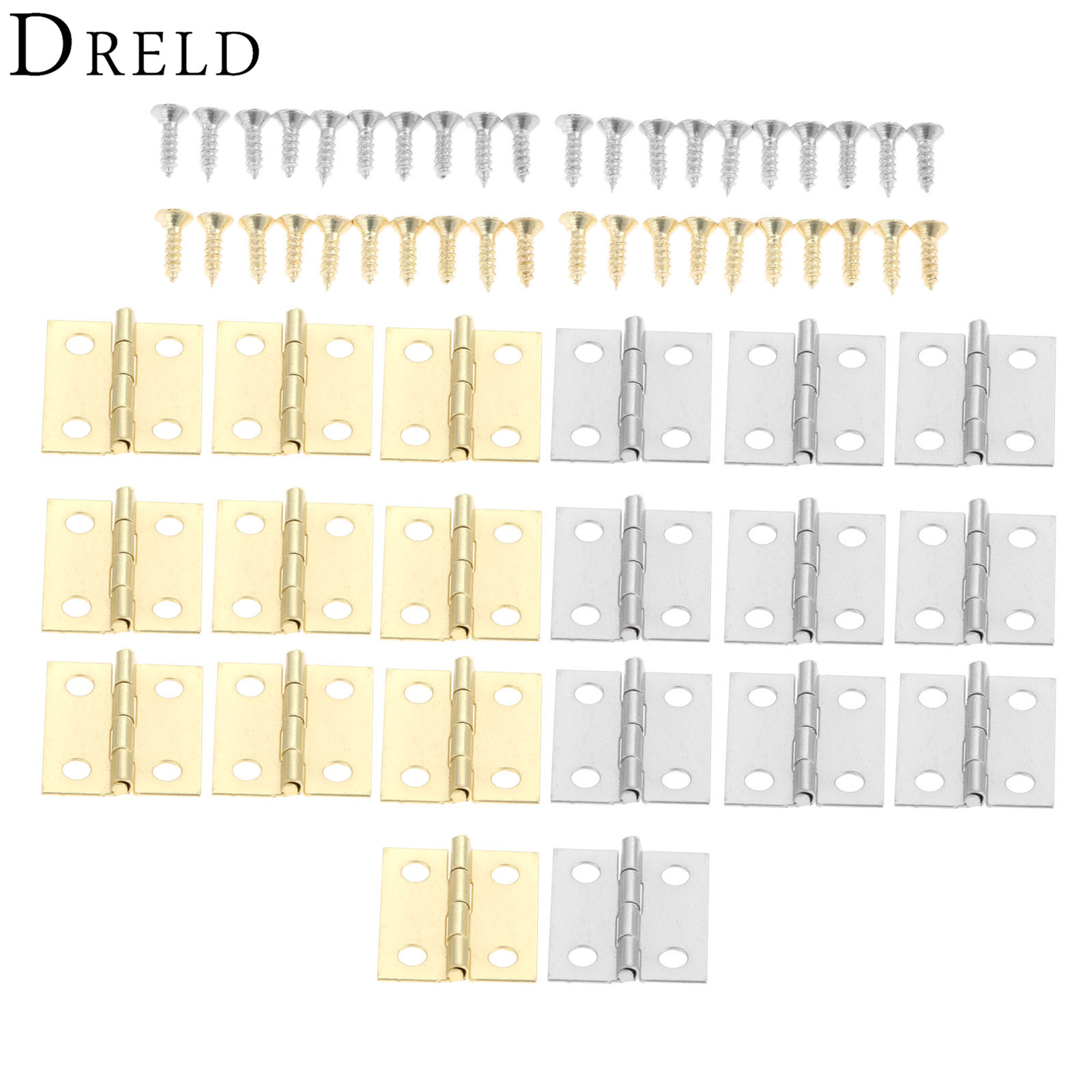 DRELD 20Pcs Silver/Gold Door Cabinet Mini Hinges Antique Jewelry Wood Boxes Luggage Hinges Furniture Decoration W/Screws 18*16mm