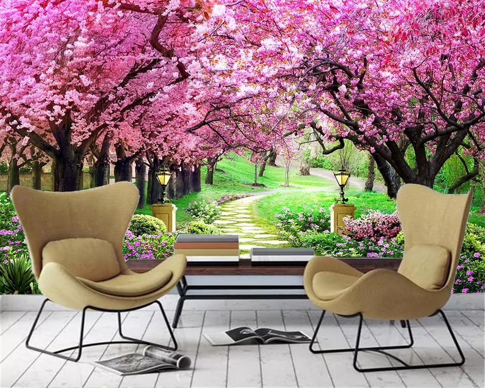 Kustom Ukuran 3d Wallpaper Bunga Laut Cherry Blossom Pohon Jalan 3d Tv Latar Belakang Dinding Dekorasi Lukisan Dinding Wallpaper Wallpaper Aliexpress