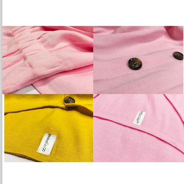 Women's Dress 2021 Spring/Summer Pure Color Single Row Buttons V-Neck Dress Women Slim High Waist Casual Dress Vestido 6
