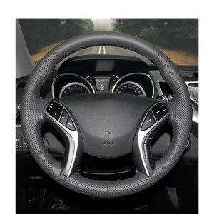 Image 2 - สีดำ PU หนัง Holster รถครอบคลุมพวงมาลัยสำหรับ Hyundai I30 2012 2017 Elantra GT 2013 2017 elantra Coupe