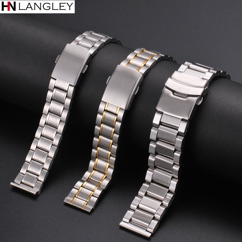 12mm 14mm 16mm 18mm 20mm 22mm 24mm Width Watch Band Stainless Steel Strap Five-bead Diving Steel Strap Watch Accessories Tool