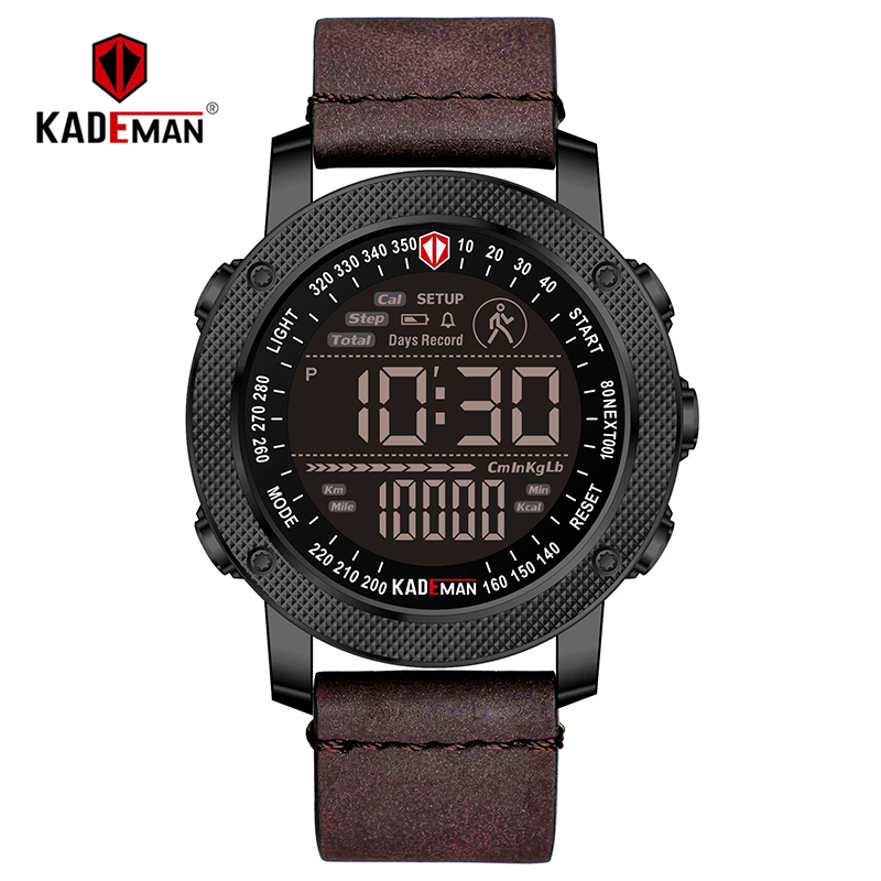 KADEMAN Luxury Sports Digital Men Watch Army Military Step Count Waterproof Leather Hand Clock Top Brand Male Wristwatch Relogio