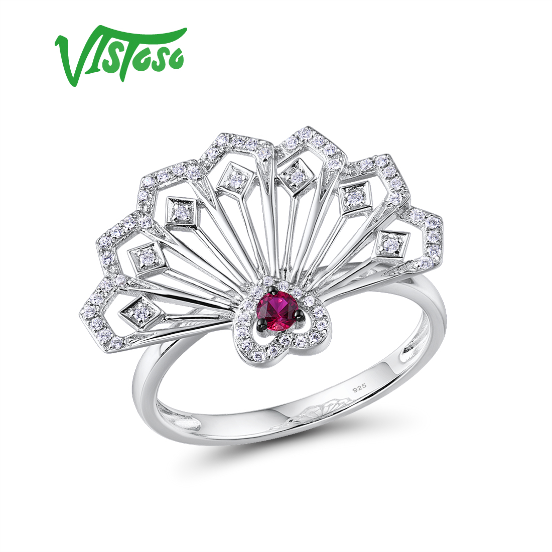 VISTOSO Gold Rings For Women Genuine 14K 585 White Gold Ring Fancy Ruby Sparkling Diamond Engagement Anniversary Fine Jewelry