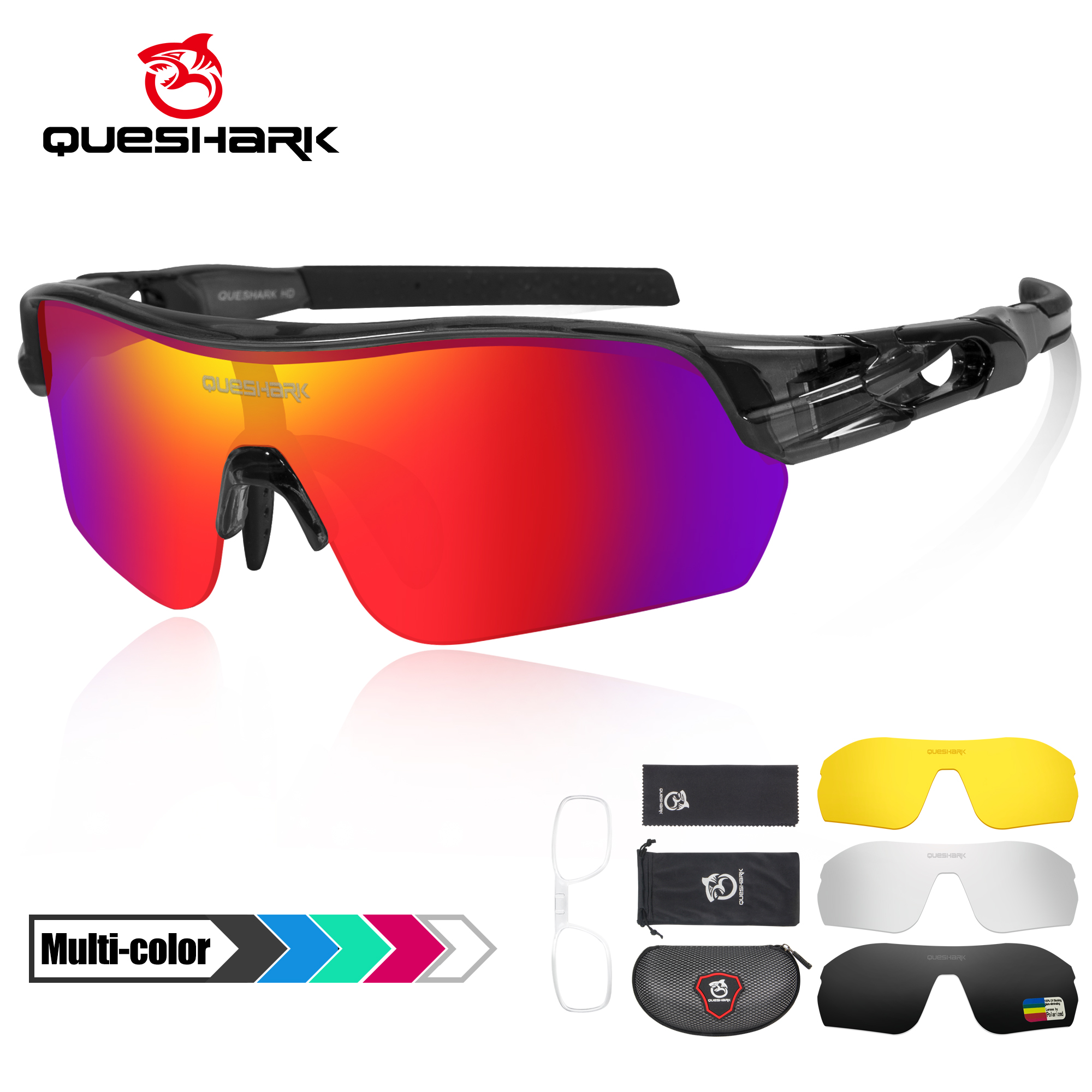 Queshark 2020 New Design Polarized Sport Sunglasses For Men Women Cycling Running Fishing Driving Golf 4 HD Lens Exchangeable
