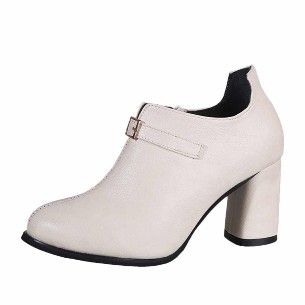 Kadın moda toka kayış yarım çizmeler yüksek topuklu vahşi tek ayakkabı kadın sığ kare kök kış bayanlar çalışma patik