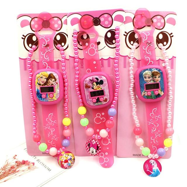Disney Princess lovely children's Necklace Watch set children's watch cartoon girl ornament kids watches boys watchs
