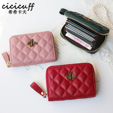 New Genuine Leather Organ Style Credit Card Holders Zipper Card Case Premium Genuine Leather ID Cardcase Wallet Purses Card Bag cheap cicicuff Cow Leather WOMEN Plaid K-2603 11cm Card ID Holders Fashion Cowhide Leather Card holder Card Clip Red Black Pink Dark Green