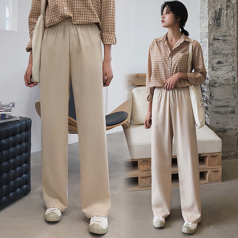 Summer Trousers Women's Thin Style Slacks Draping Wide Leg Pants Straight Leg High Waist Pants Loose New Style Mopping Pants Ela