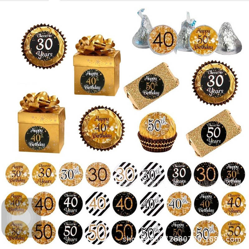 216pcs Happy 18 30 40 <font><b>50th</b></font> <font><b>Birthday</b></font> Sticker Gift Box Self Stickers Cheers 30 Years <font><b>Birthday</b></font> Paper Sticker Adult <font><b>Party</b></font> Decoration image